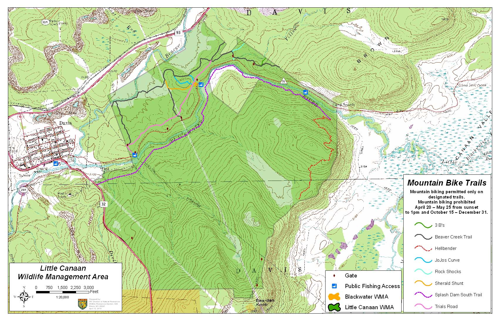 West Virginia DNR WMA Map Project - Map of wv