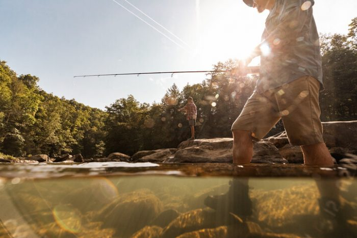 A photo of two people fishing in West Virginia